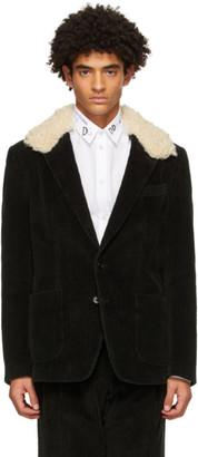 Dolce & Gabbana Black Corduroy Blazer Jacket