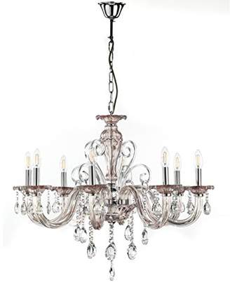 Onli Emma Chandelier 8 Lights in Crystal Glass With Chrome Detailing, Champagne and Chrome