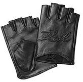 Karl Lagerfeld Logo Embossed Fingerless Leather Gloves