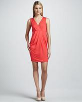 Three Dots V-Neck Pleated Dress
