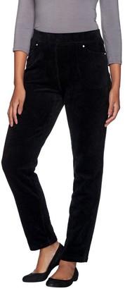 Quacker Factory Regular Knit Corduroy Pull-On Slim Leg Pant