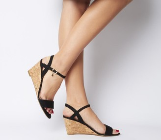 Office Maxima Low Cork Wedges Black