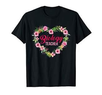 Cute Biology Teacher Heart Love Flowers T-shirt