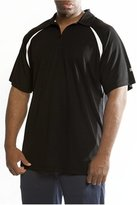 Russell Athletic Men's Big & Tall Dri Power Short Sleeve Three Button Polo, Black/White, 2X