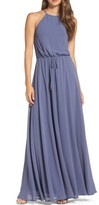 LuLu*s Women's Be Mellow Cutaway Shoulder Chiffon Gown
