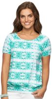 Chaps Women's Tie-Dyed Banded-Bottom Top