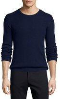 ATM Anthony Thomas Melillo Waffle-Stitch Knit Crewneck Sweater, Navy