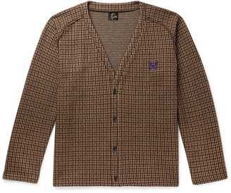 Needles Houndstooth Cotton And Wool-Blend Jacquard Cardigan