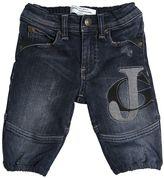 John Galliano Logo Printed Stretch Denim Jeans