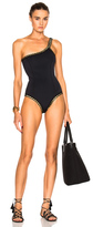 Kiini ChaCha One Shoulder Swimsuit in Black.