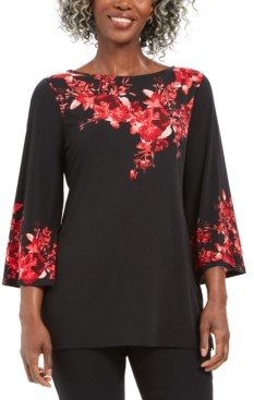 JM Collection Placed-Print Boat-Neck Top, Created for Macy's