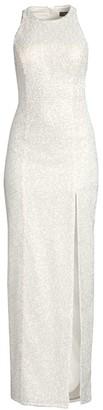 Aidan Mattox Sequin Cutout Slit Gown
