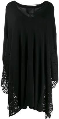 Blumarine lace side panel sweater dress