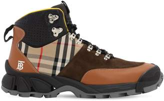 Burberry Check Tor M Leather High Top Sneakers
