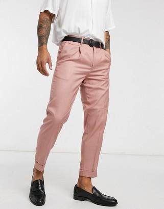 Burton Menswear tapered smart trousers in coral