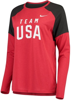 Nike Women's Red Team USA Tailgate Long Sleeve Performance T-Shirt