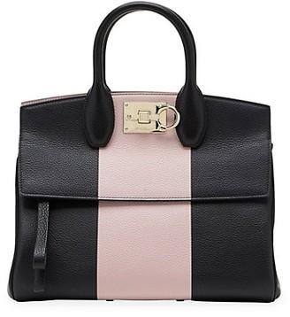 Salvatore Ferragamo Studio Colorblock Leather Top Handle Bag