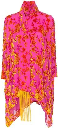 Taller Marmo Primavera velvet-floral embroidered dress