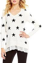 Chelsea & Theodore Beaded Star Print Tunic Sweater