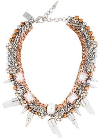 Assad Mounser Multi-Chain Crystal Collar Necklace