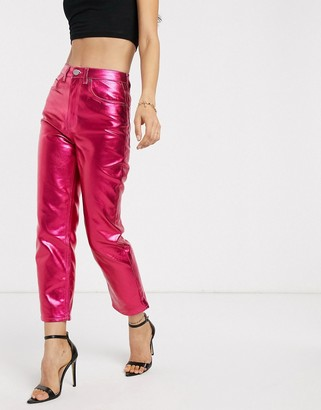 Asos Design DESIGN Florence authentic straight leg jeans in bright pink metallic