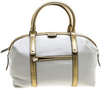 Carolina Herrera White/Gold Leather Boston Bag