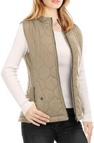 Allegra K Women's Stand Collar Side Pockets Zippered Quilted Padded Vest XL