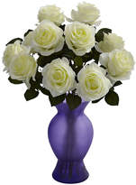 Asstd National Brand Nearly Natural Roses With Colored Glass Vase