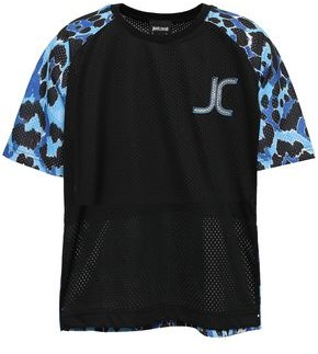 Just Cavalli Appliqued Printed Mesh T-shirt
