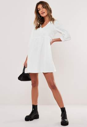 Missguided White Plunge Cotton Smock Dress