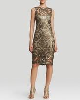 Tadashi Shoji Petites Dress - Sleeveless Illusion Neckline Sequin Lace Sheath