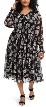 Taylor Plus Size Floral-Print Smocked Midi Dress