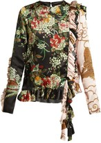 By Walid Nil Floral-print Ruffled Silk Blouse - Womens - Navy Multi