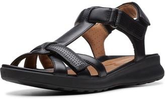 Clarks Un Adorn Vibe Wide Fit Flat Sandals - Black