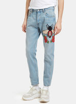 Gucci Men's Embroidered Floral Fly Patch Jeans In Blue