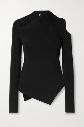 Monse Asymmetric Cutout Wool-blend Sweater - Black