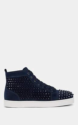 Christian Louboutin Men's Louis Flat Spiked Suede Sneakers - Navy