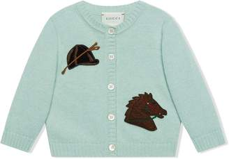 Gucci Kids Horse Patch Knitted Cardigan