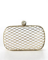 Franchi White Gold Tone Jewel Clasp Coronation Clutch Bag New $185 90061743
