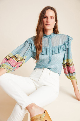 Victoire Sheer Ruffled Blouse By Verb by Pallavi Singhee in Blue Size XS