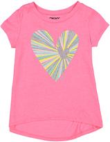 DKNY Pop Pink Glitter Heart Hi-Low Top - Toddler