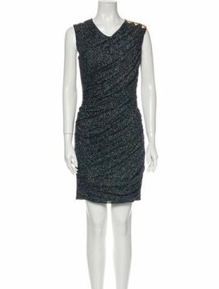 Balmain V-Neck Mini Dress Blue