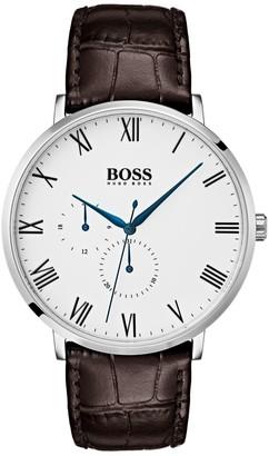 HUGO BOSS William Ultra Slim Leather-Strap Watch