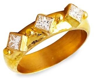 Elizabeth Locke Stone Hammered 19K Yellow Gold & Harlequin Diamond Stack Ring