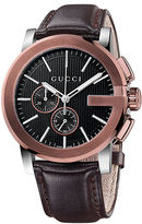 Gucci Mens G-Chronograph Rose Goldtone and Leather Watch