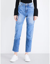 Sandro Star-stitched straight high-rise jeans
