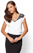 New York & Co. 7th Avenue - Lace-Accent Hi-Lo Top - Tall