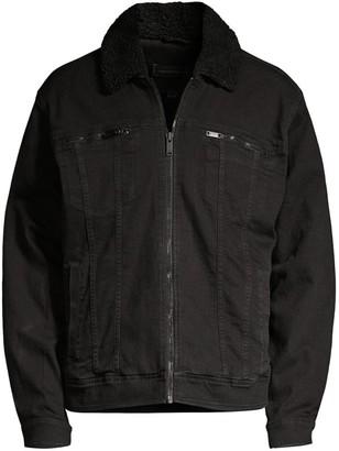 John Varvatos Faux Fur Collar Zip Trucker Jacket