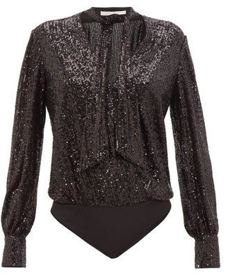 Jonathan Simkhai Sequinned Tie-neck Wrap Bodysuit - Black