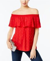 INC International Concepts Embellished Off-The-Shoulder Top, Created for Macy's